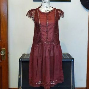Anthropologie floreat burgundy womens lace dress